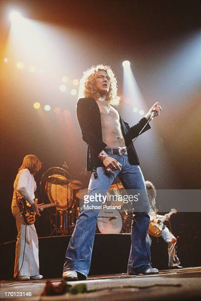 English rock group Led Zeppelin performing on stage at Madison Square Garden New York June 1977 Left to right John Paul Jones Robert Plant and Jimmy...