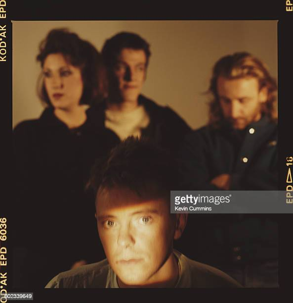 English rock group New Order 1st November 1985 Clockwise from front singer and guitarist Bernard Sumner keyboard player Gillian Gilbert drummer...
