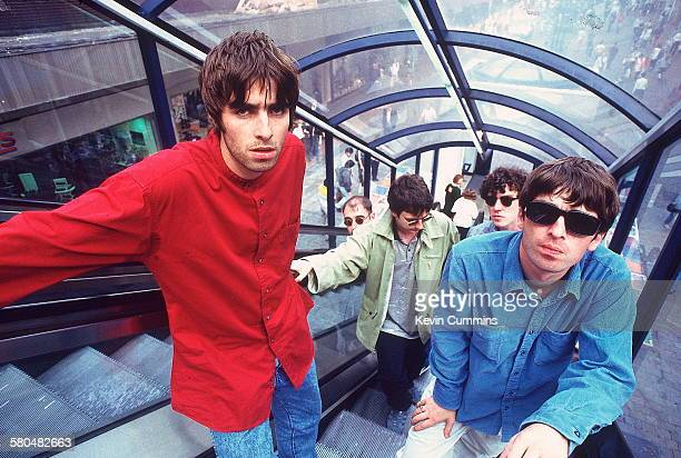 English rock group Oasis 2nd August 1994 Left to right singer Liam Gallagher rhythm guitarist Paul 'Bonehead' Arthurs bassist Paul McGuigan drummer...