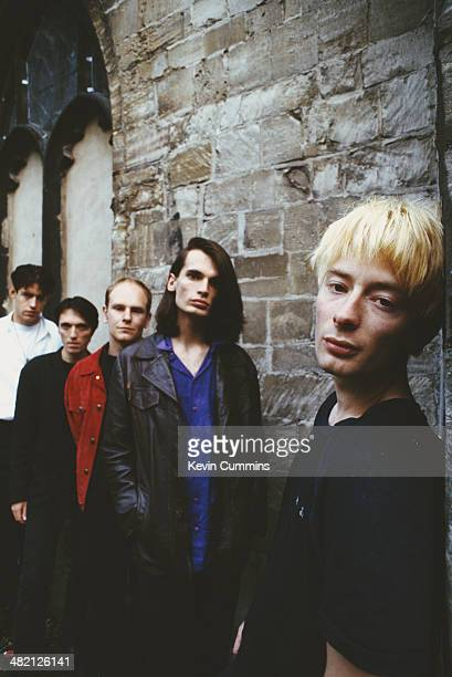 English rock group Radiohead Gloucester UK 31st August 1994 Left to right guitarist Ed O'Brien bassist Colin Greenwood drummer Phil Selway guitarist...