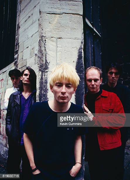 English rock group Radiohead Gloucester UK 31st August 1994 Left to right guitarist Ed O'Brien guitarist Jonny Greenwood singer and songwriter Thom...