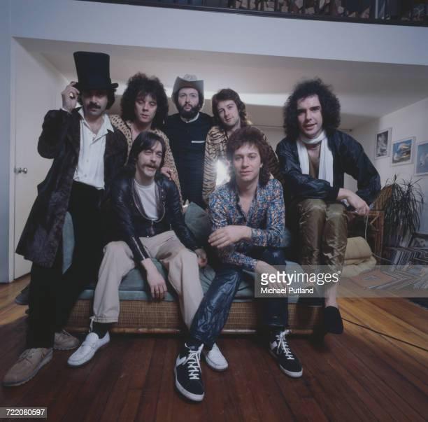 English rock group Sad Cafe April 1979 Clockwise from far left keyboard player Vic Emerson drummer Dave Irving saxophonist Lenni Zaksen guitarist...