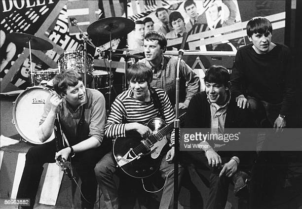 English rock group The Animals posed on the set of the TV show 'Ready Steady Go' circa 1963 They are bassist Chas Chandler drummer John Steel...
