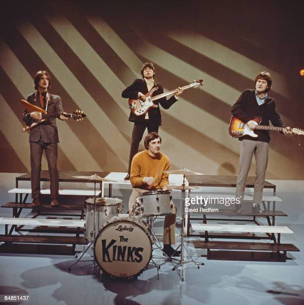 CENTRE Photo of KINKS Dave Davies Pete Quaife Mick Avory Ray Davies performing on TV show