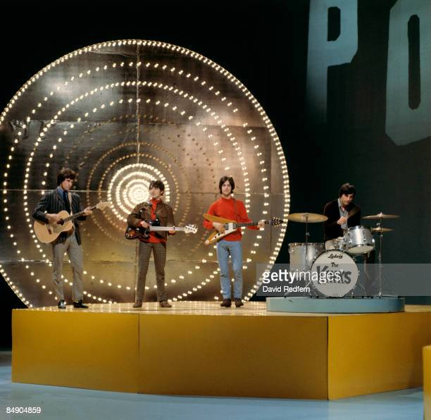 POPS Photo of KINKS and Ray DAVIES and Pete QUAIFE and Dave DAVIES and Mick AVORY Group performing on tv show LR Ray Davies Pete Quaife Dave Davies...