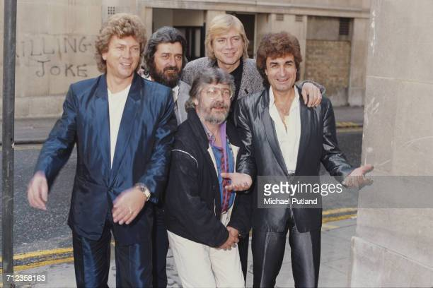 English rock group The Moody Blues posed in London on 11th October 1984 Left to right John Lodge Ray Thomas Justin Hayward Graeme Edge and Patrick...