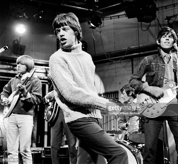 English rock group The Rolling Stones during rehearsals for an episode of the Friday night TV pop/rock show 'Ready Steady Go' at...