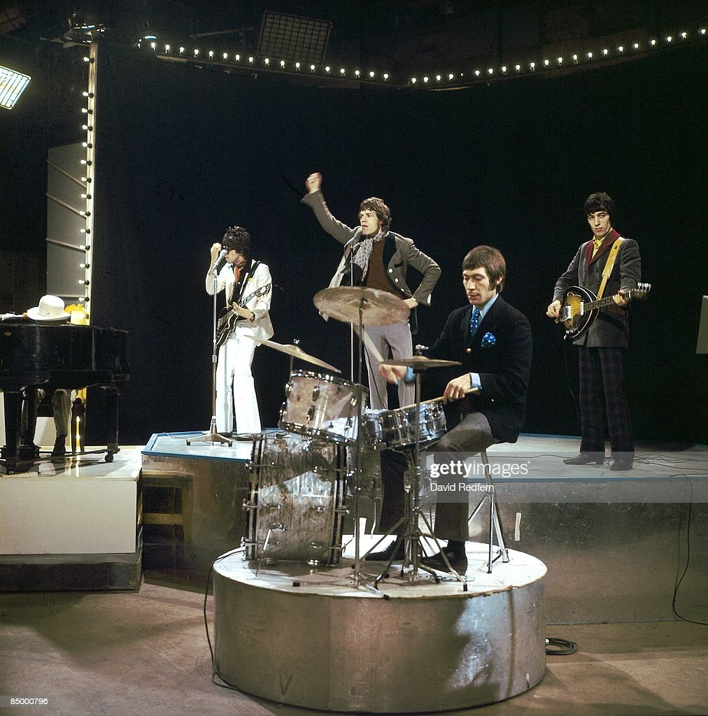 Brian Jones (white hat behind piano), Keith Richards, Mick Jagger, Charlie Watts, Bill Wyman performing 'Let's Spend The Night Together' on UK TV Show