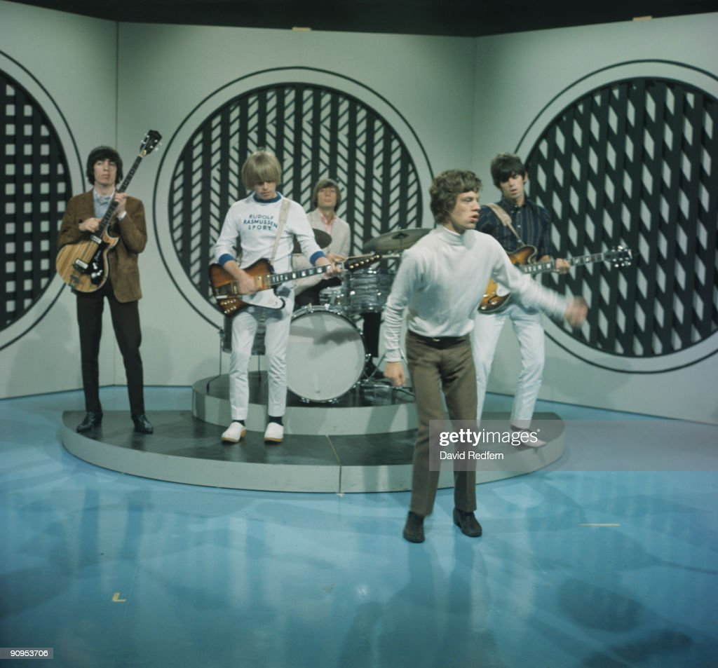 Keith Richards Mick Jagger Charlie Watts Brian Jones and Bill Wyman of the Rolling Stones perform on Thank Your Lucky Stars television show filmed in...