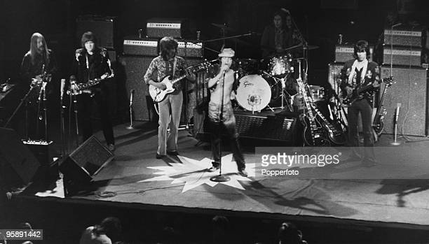 English rock group The Rolling Stones performing at the Empire Theatre Liverpool 12th March 1971 Left to right Jim Price Bobby Keys Mick Taylor Mick...