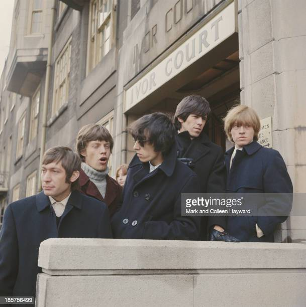 English rock group The Rolling Stones posed outside Ivor Court the home of their manager Andrew Loog Oldham in Gloucester Place London circa 1964...