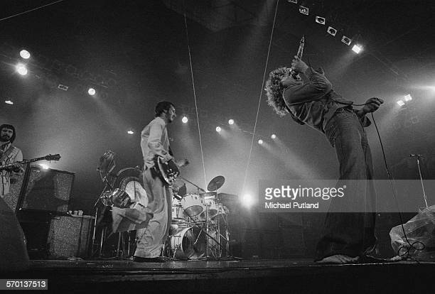English rock group The Who performing at Charlton Athletic's football ground The Valley London on the 'Who Put The Boot In' leg of their 1976 tour...