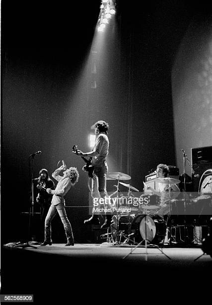 English rock group The Who performing at the Rainbow Theatre London November 1971 Left to right John Entwistle Roger Daltrey Pete Townshend and Keith...