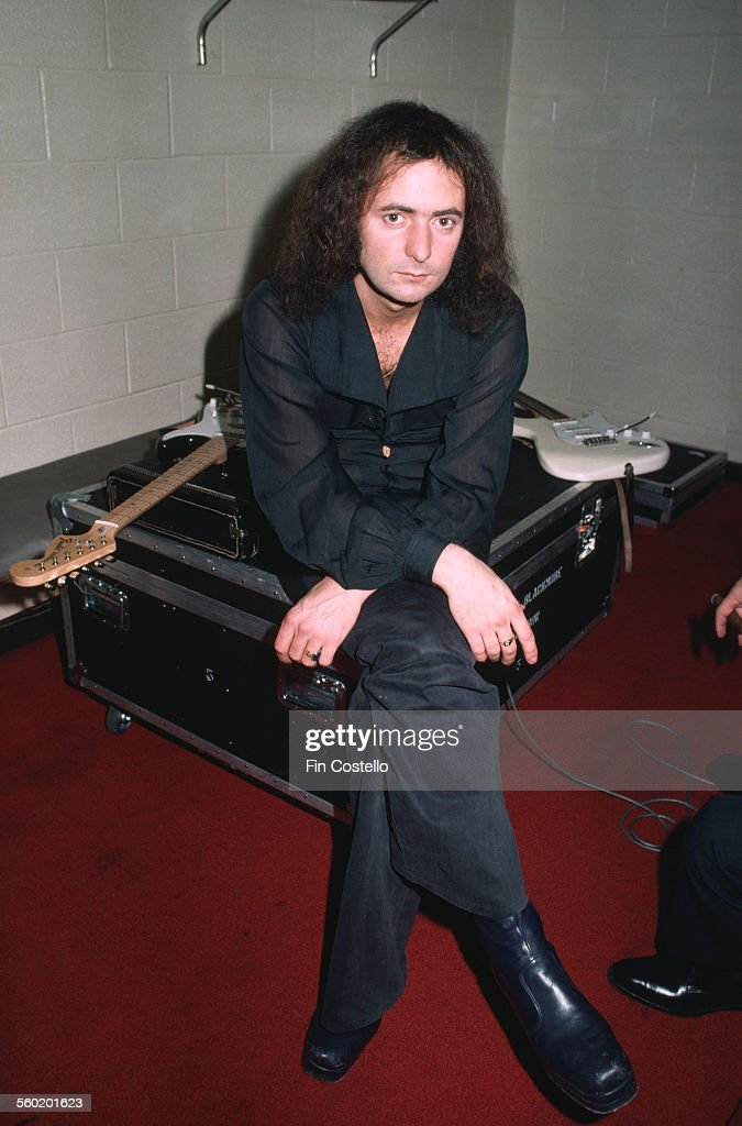 English rock guitarist and songwriter Ritchie Blackmore, of rock group Rainbow, backstage at the Forum in Montreal, Canada, 10th November 1975.