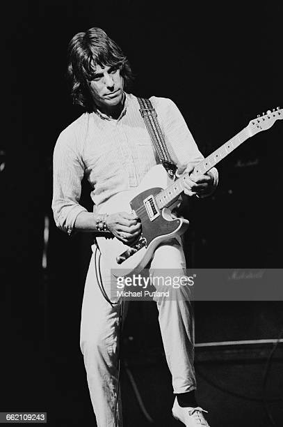 English rock guitarist Jeff Beck performing in 'The Secret Policeman's Other Ball' at the Drury Lane theatre London 9th September 1981 The show is a...
