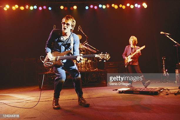 English rock musician and singer Sting in concert with The Police 1979 In background right is guitarist Andy Summers