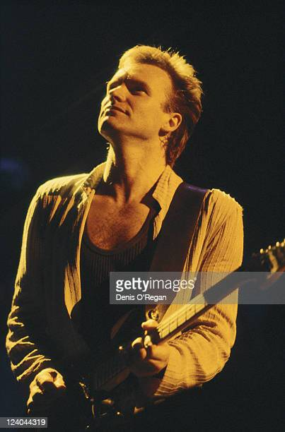 English rock musician and singer Sting in concert with The Police circa 1981