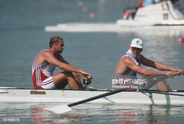 English rowers Steve Redgrave and Matthew Pinsent of the Great Britain team pictured during competition to finish in first place to win the gold...