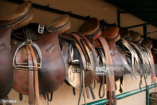 English saddles hung up at a polo field stables