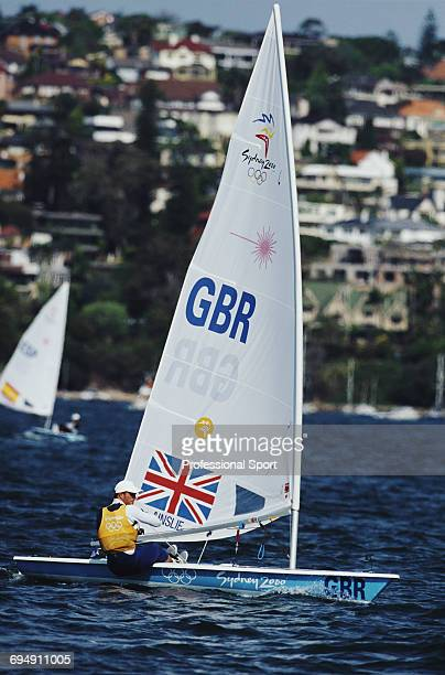 English sailor Ben Ainslie competes for Great Britain to finish in first place to win the gold medal in the Laser class open single person dinghy...