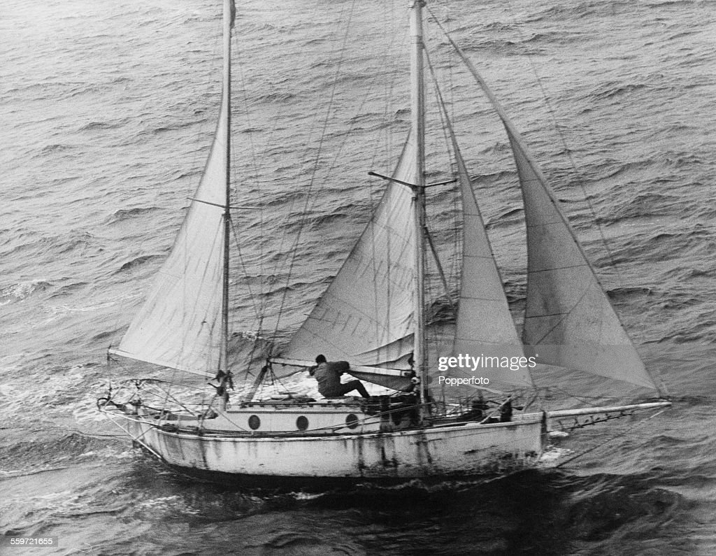 English sailor Robin Knox-Johnston on board his 32-foot (9.8-metre) boat Suhaili, in the Atlantic near the end of his circumnavigation of the earth, the first to be achieved single-handed and non-stop, 21st April 1969.