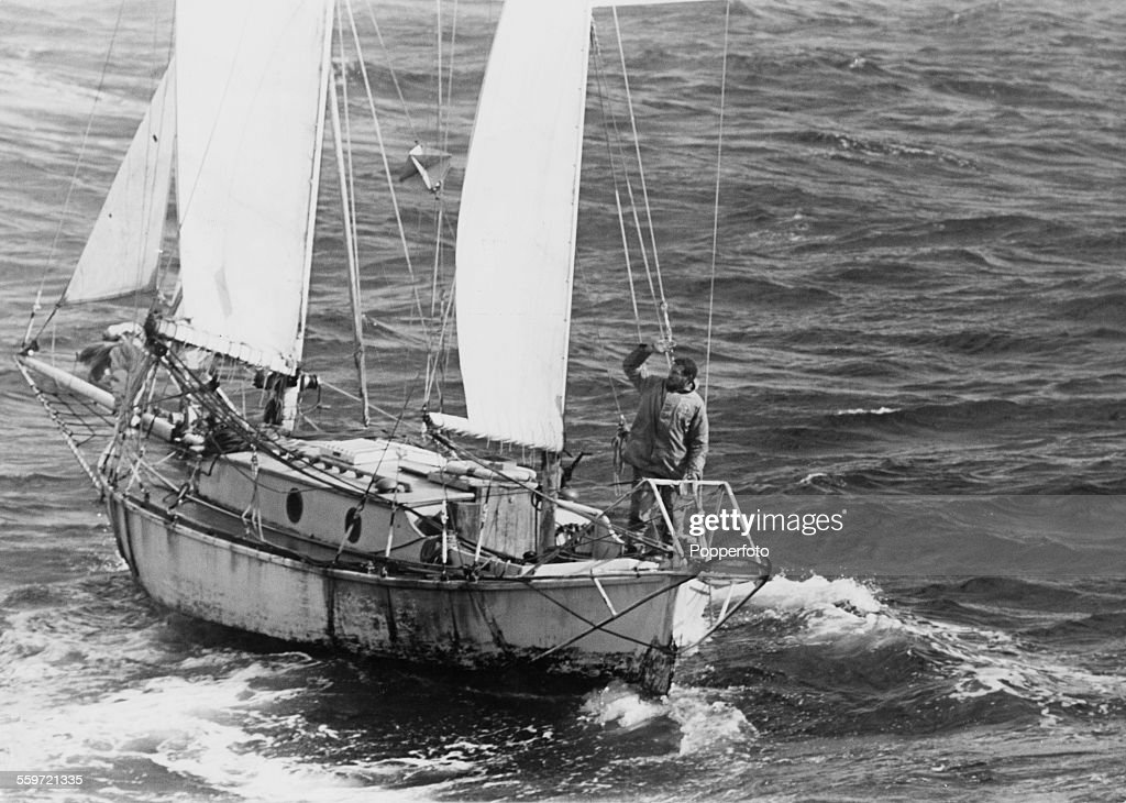 English sailor Robin Knox-Johnston on board his 32-foot (9.8-metre) boat Suhaili, nearing Falmouth at the end of his circumnavigation of the earth, the first to be achieved single-handed and non-stop, 23rd April 1969.