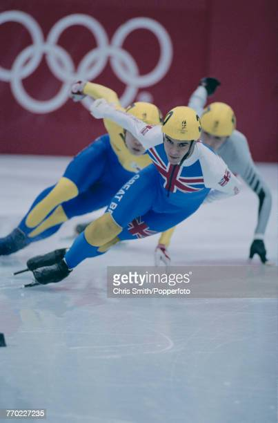 English short track speed skater Wilf O'Reilly pictured in action competing to finish in fifth place in final B of the Men's 1000 metres short track...