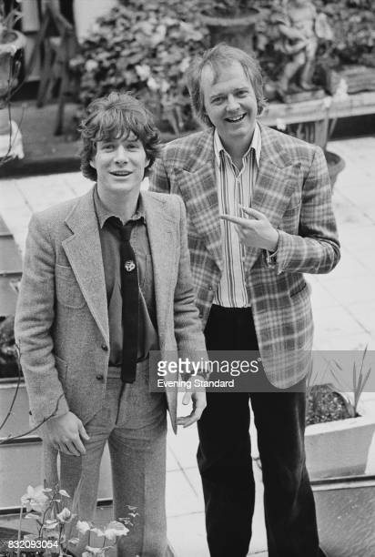 English singer and actor Paul Jones with English author Tim Rice who produced his single on the RSO label London 29th March 1978