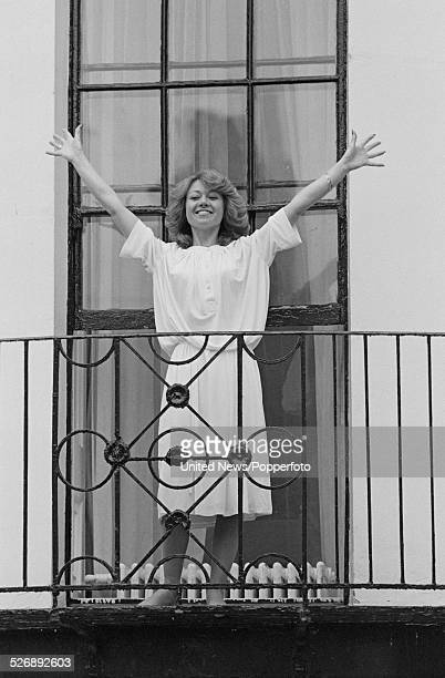 English singer and actress Elaine Paige who plays the role of Eva Peron in the musical Evita pictured on a balcony in London on 27th April 1978