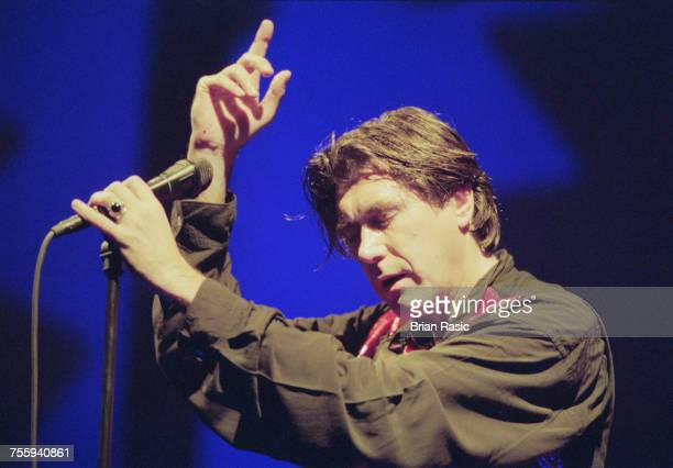 English singer and former lead singer of Roxy Music Bryan Ferry performs live on stage at the Hammersmith Apollo in London on 29th October 1994