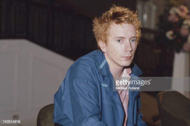English singer and former vocalist with the Sex Pistols John Lydon pictured attending a Public Image Limited press conference at the Royal Lancaster...