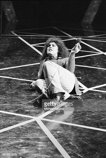 English singer and guitarist Marc Bolan of TRex performing on London Weekend Television's children's music show Supersonic at the South Bank...