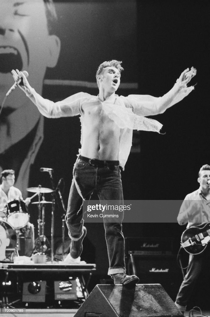 English singer and lyricist Morrissey, performing at the Garden State Arts Center in Holmdel Township, New Jersey, during his 'Kill Uncle Tour', 11th July 1991.