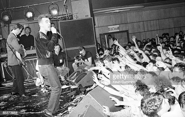 English singer and lyricist Morrissey performing at the last ever concert by The Smiths at Wolverhampton Civic Hall 22nd December 1988 The band...