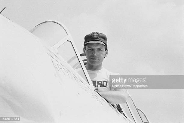 English singer and musician Gary Numan posed sitting in the cockpit of a Harvard 2B aircraft at an airfield in England on 26th June 1986