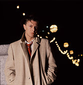 English singer and songwriter David Bowie at the time of the release of his single 'Absolute Beginners' Victoria Embankment London 1986