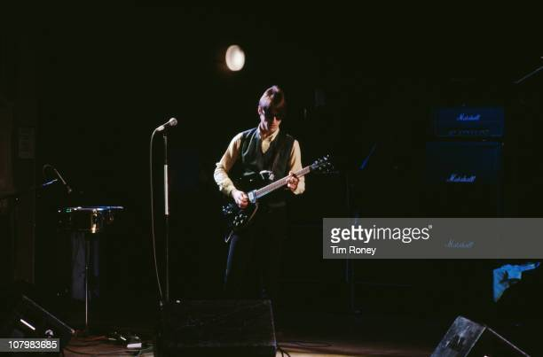 English singer and songwriter Paul Weller performing on stage with The Jam at the BBC Theatre Golders Green London 19th November 1981