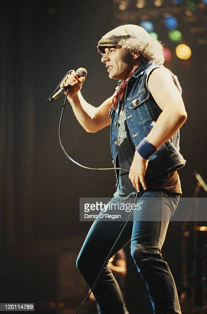 English singer Brian Johnson performing with rock group AC/DC circa 1980