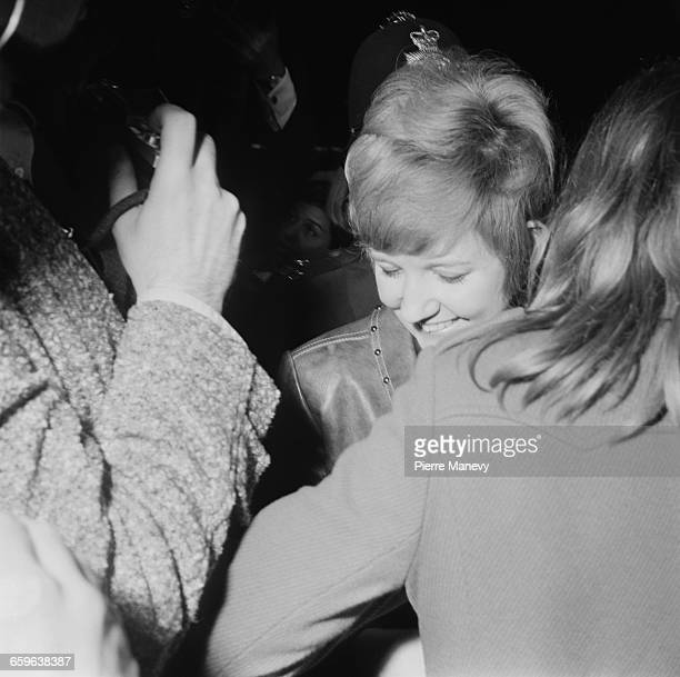 English singer Cilla Black arriving at the launch party for the Apple boutique run by the Beatles' Apple Corps Baker Street London 5th December 1967