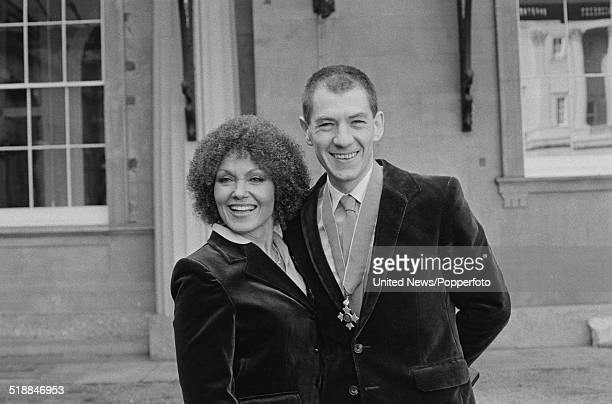 English singer Cleo Laine pictured with English actor Ian McKellen at an investiture ceremony at Buckingham Palace in London on 31st October 1979...