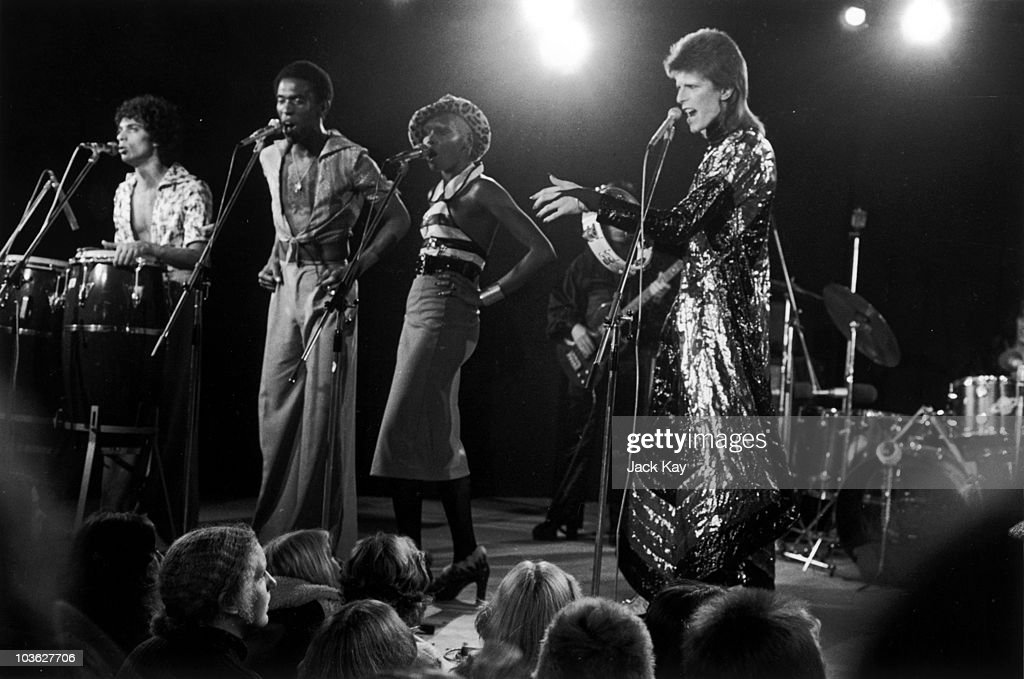 English singer David Bowie performing at a live recording of 'The 1980 Floor Show' for the NBC 'Midnight Special' TV show at The Marquee Club in...