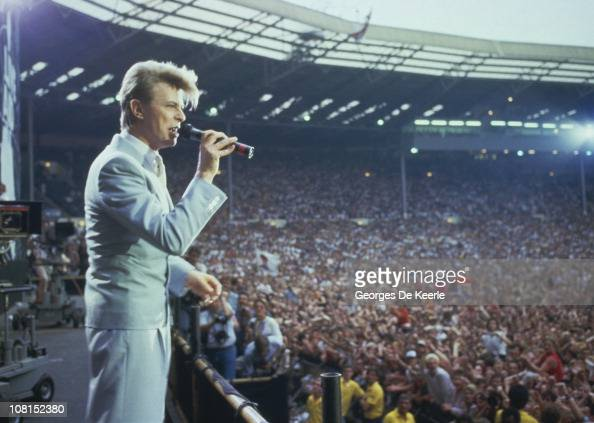 English singer David Bowie performing at the Live Aid concert at Wembley Stadium in London 13th July 1985 The concert raised funds for famine relief...