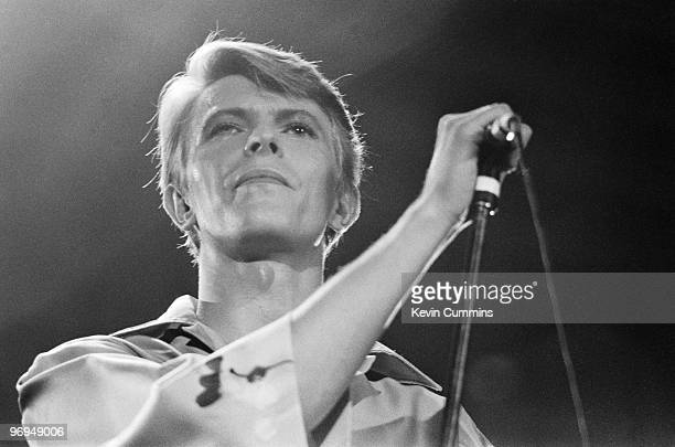 English singer David Bowie performs on stage at the Bingley Hall in Stafford as part of the Low and Heroes World tour on June 24 1978