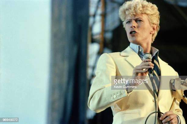 English singer David Bowie performs on stage at the Milton Keynes Bowl as part of the Serious Moonlight tour on July 02 1983