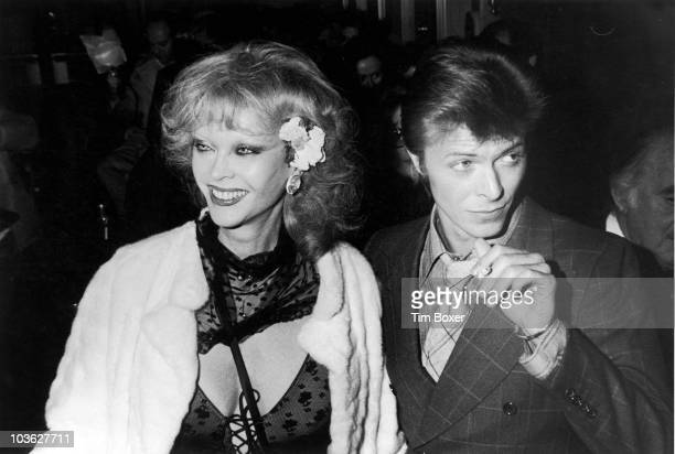 English singer David Bowie with Belgian actress Monique van Vooren at the premiere of Steven Spielberg's 'Close Encounters of the Third Kind' at The...