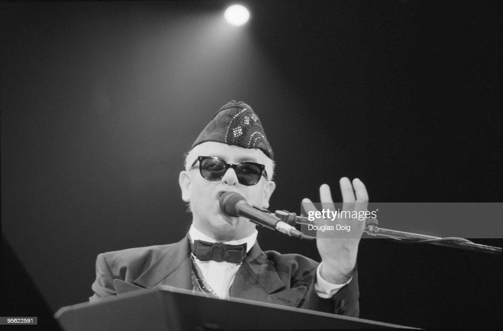 English singer Elton John performing at the Palais Omnisports de Paris-Bercy, Paris, 23rd March 1989.