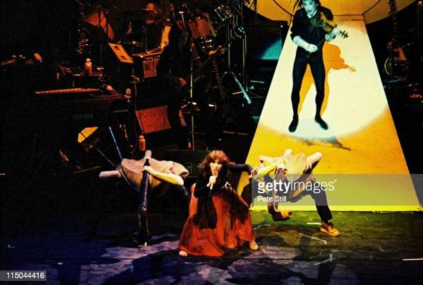 English singer Kate Bush performs live on stage at the London Palladium as part of her European Tour on 19th April 1979