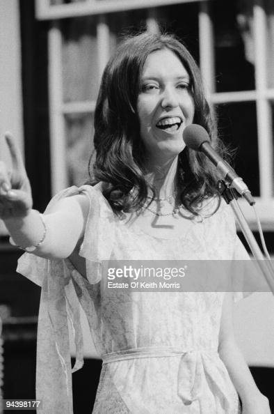 English singer Maddy Prior of electric folk band Steeleye Span performs on a television show 1977