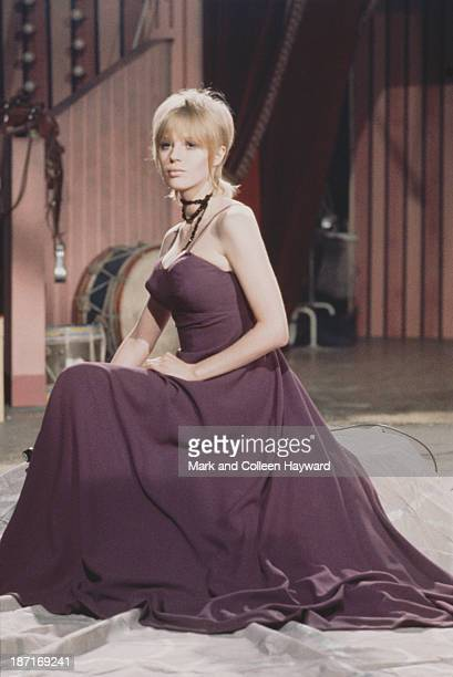 English singer Marianne Faithfull poses on the set of the Rolling Stones Rock and Roll Circus at Intertel Studio in Wembley London on 11th December...