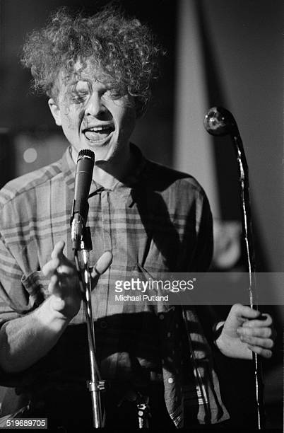 English singer Mick Hucknall performing with Simply Red at a video shoot in London September 1985